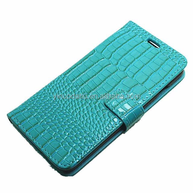 Crocodile Pattern PU Leather Cell Phone Flip Wallet Kickstand Case for iPhone 7 Plus