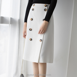 White double breasted women skirt elegant wild slim skirt