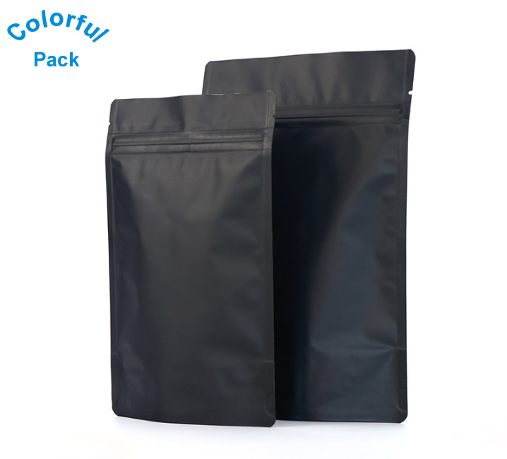Hot selling Matte <strong>black</strong> stand up pouch for coffee or tea packaging