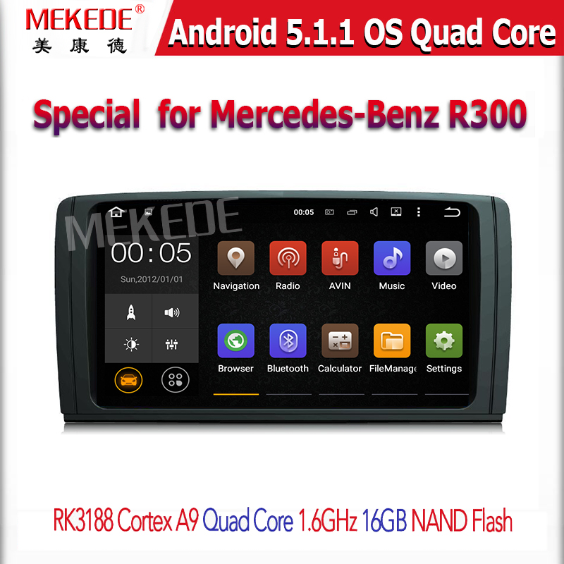 OEM/ODM + Big screen for Mercedes-B enz R300 Car multimedia with anroid 5.1 quad core Support Wifi 3g Car gps navigation