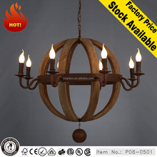 High power fancy lights industrial wood chandelier for living room