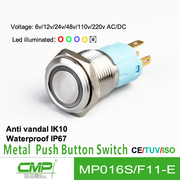 free samples export CMP brand MP016S/F22-E16mm brass doorbell push button switch UL CE ROHS