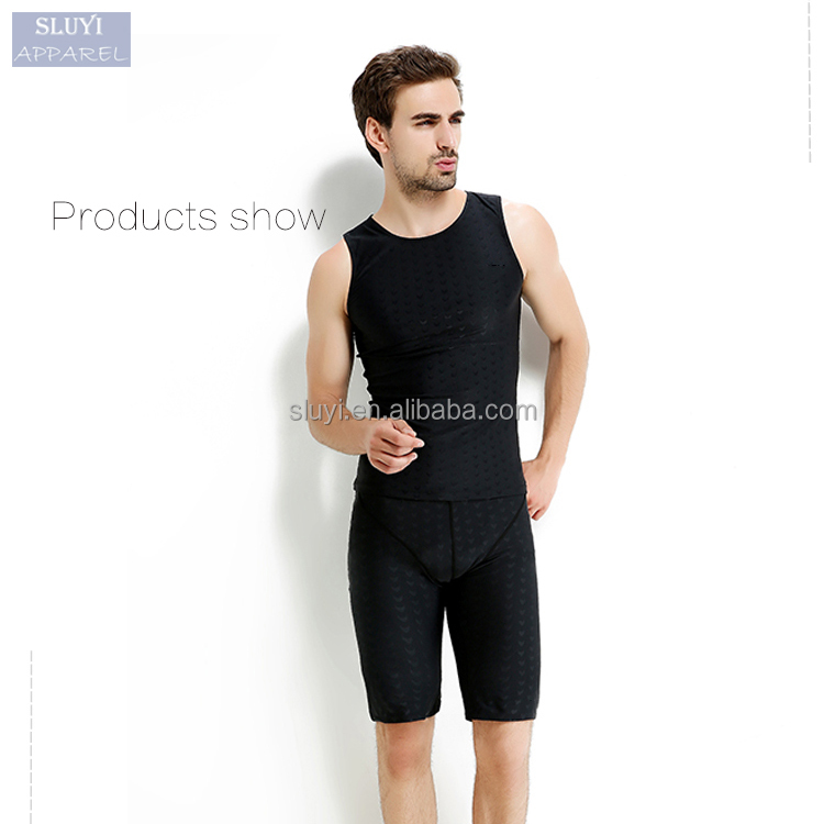 wholesale sportswear cheap simple outdoors blank black slimming high quality spandex mens swimwear