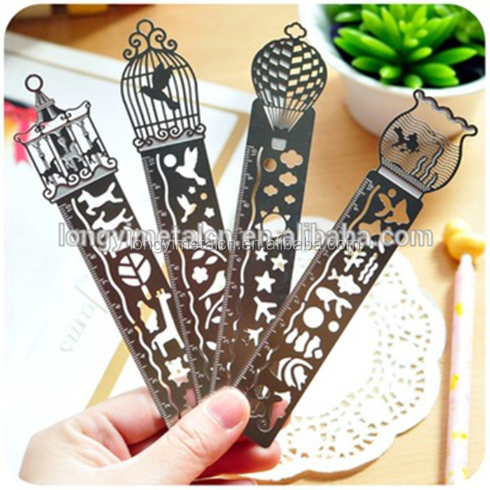 OEM Custom magnetic metal bookmark with ruler