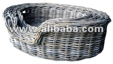 Pet basket with rattan Koboo gris