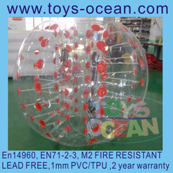 DIA 1.5m Red Dot Clear 1mm PVC inflatable body bumper ball