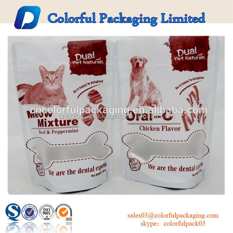 Plastic bags with tear notch for pet food/Aluminum foil three side sealed packaging bag with round for pet food