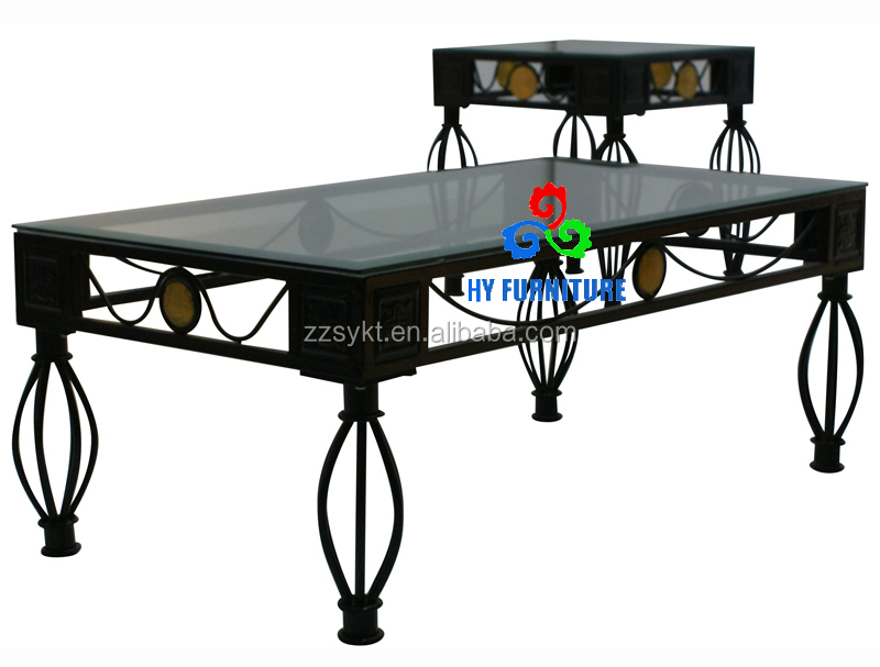 High Quality Modern Square Tempered Glass top Coffee Tables with stools