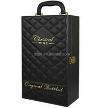 Black Leather Two Bottles Wine Box With Safety belt