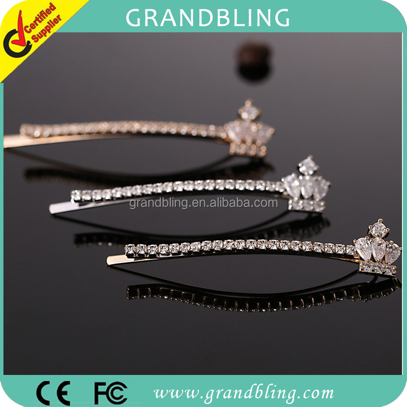Crown tiara shape zircon crystal hair pins