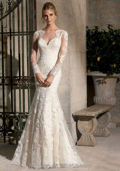 new designer high neck lace a-line long sleeve wedding dresses