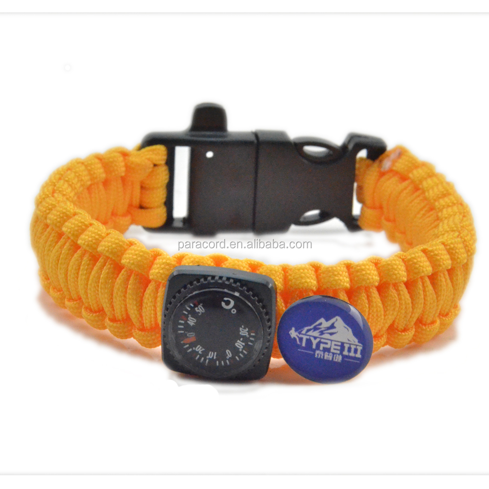 wholesale alibaba chinese merchandise paracord survival bracelet with survival themmometer and fire starter for tactical gear