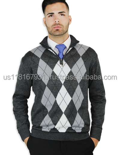 Argyle Quarter-Zipper Sweater