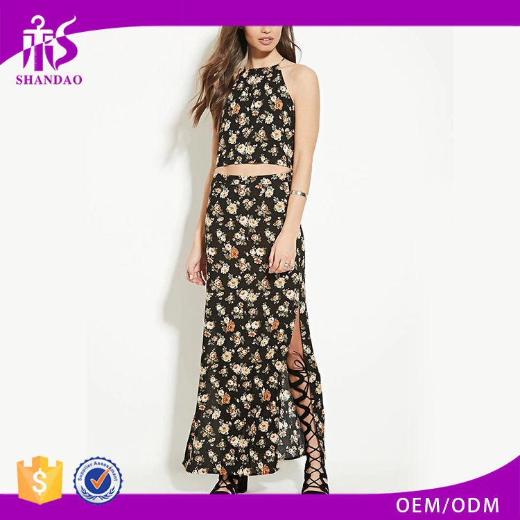 2016 guangzhou shandao summer wholesale new design fashion high slit printing mature women in skirts