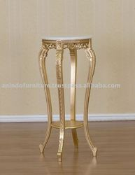 French Reproduction Furniture - Gold Gilt Marble Top Table