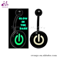 Steel Anodized Black Glow in the Dark Power Button Custom Logo Picture Button Belly Ring Body Piercing Jewelry Wholesale