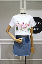 2017 new design women 100%cotton casual t shirt, embroidery with bead pieces fashion t shirt