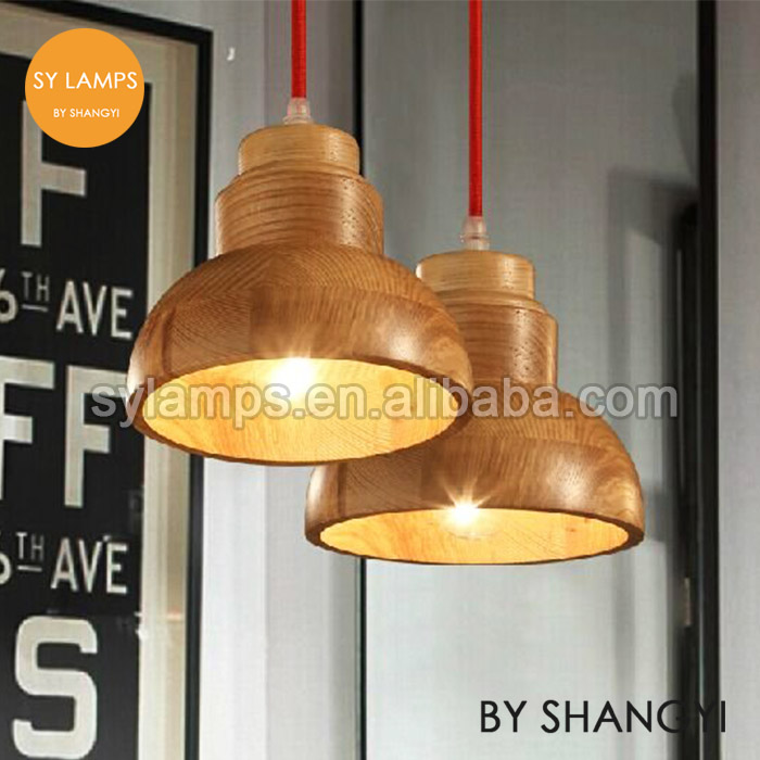 wooden lampshade with braided wire for wooden pendant lamp