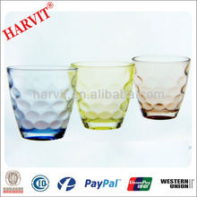 Wholesale Dinnerware Drinkware Glass Tumbler With Round Bottom / Italian Wine Glass Carved