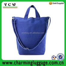 Royal Blue tote bag organic cotton bag with long strap belt