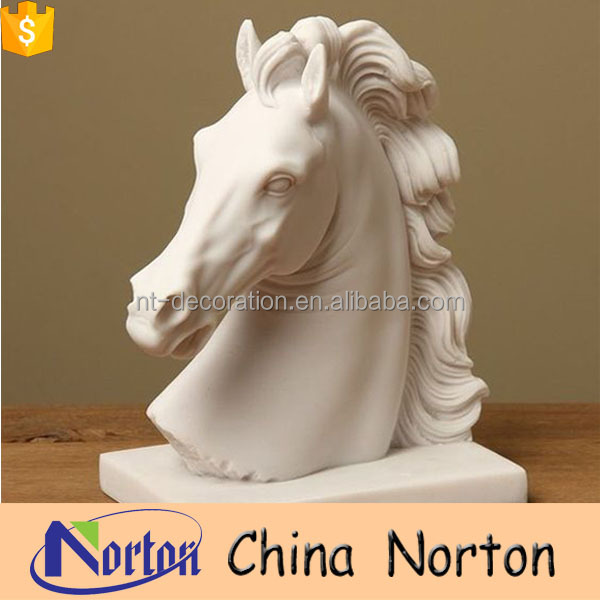 artificial life size home marble horse head sculptures NTBM-H014Y
