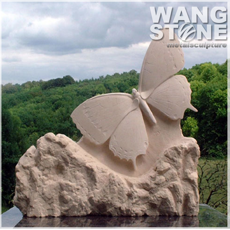Well Polished Granite Garden Butterfly Sculpture