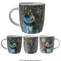 Bone China Christmas Mug Snowman & Mice