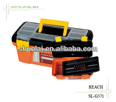 Plastic Hand-Carried Tool Box With Tray/Strong Toolbox Lock/