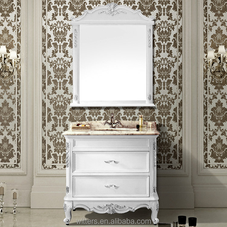 Regal Victorian Antique White Bathroom Cabinet,Integrated Mirrored Bathroom Furniture with Marble Countertop WTS608