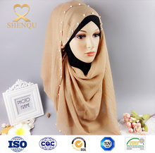 Muslim head scarf Fashion Hijab Pearl Cotton Scarf Chain Colorful Scarves Wholesale