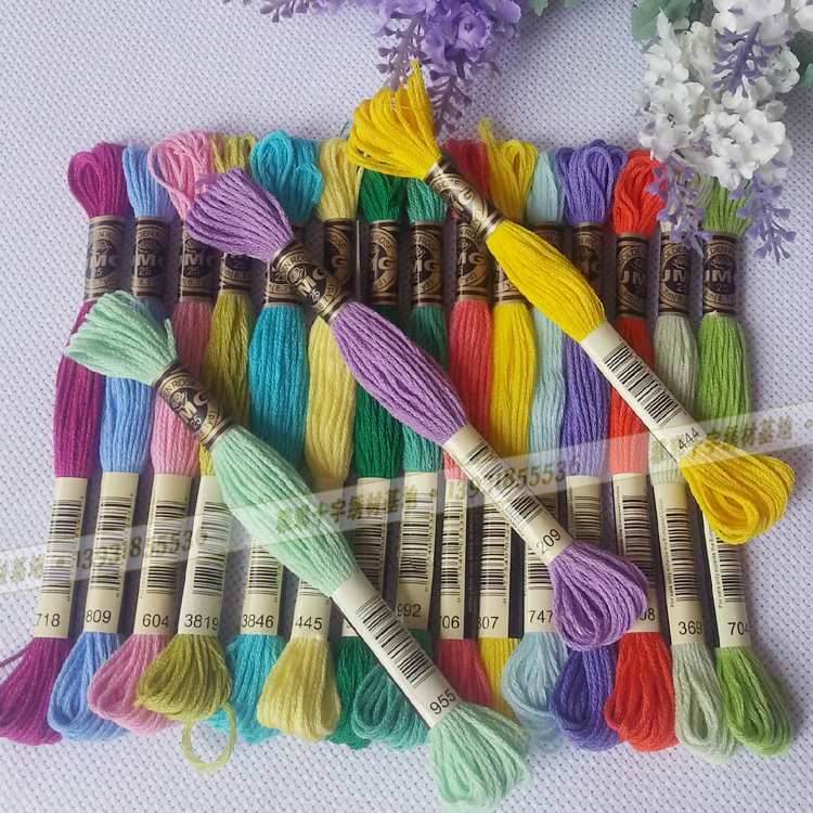 embroidery thread cross stitch thread 100% cotton floss dmc 447 colors Egyptian Cotton