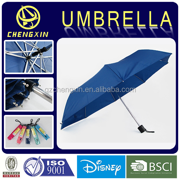 3 Folding21inch 8ribs Promotional Plastic Handle Folding Umbrella