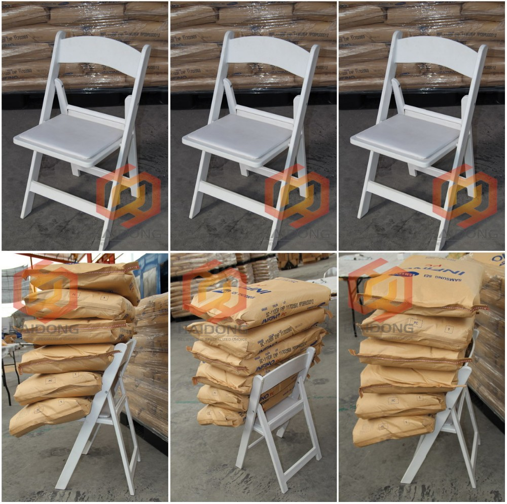 High quality white padded resin folding chair