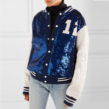 Fashion Blue Sequined Shiny The Bomber Jacket Girls OEM Bombers