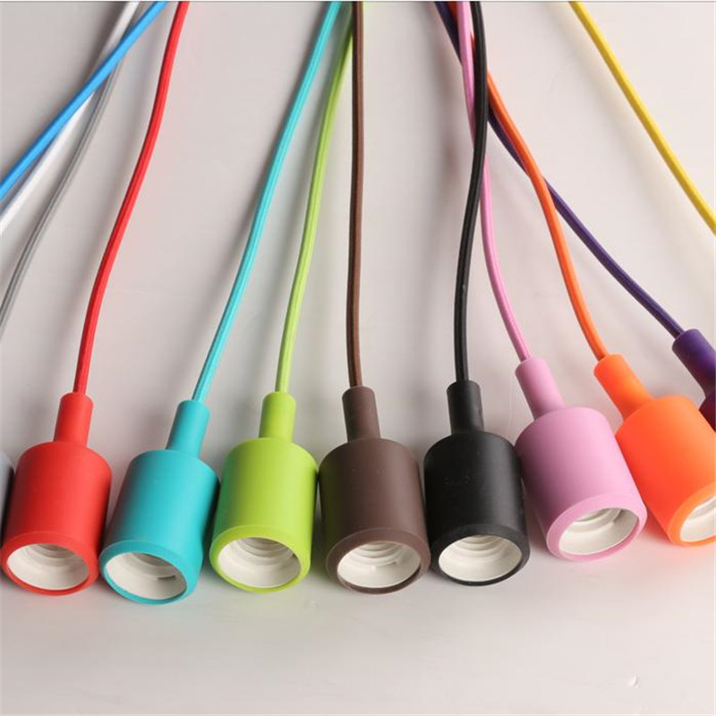 Modern Colorful Pendant Lights Silicone Lamps E27 AC110V 220V Dining room Restaurant Home coloured cord pendant lights