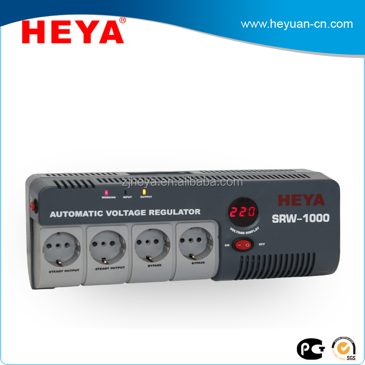 1000VA portable socket type LED display relay type AC automatic voltage regulator/stabilizer/avr with European socket