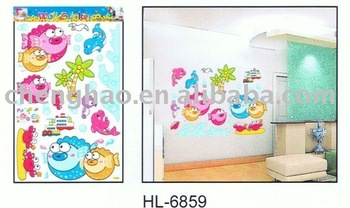 fish self-adhesive pvc wall decor sticker