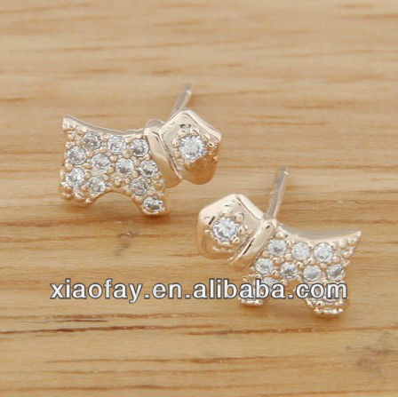 Latest fashion cute gold dog shape stering silver earrings(eg1236221)