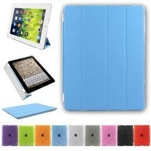 Ultra Thin Magnetic Smart Cover and Back Case for Apple iPad 2/3/4, transparent case for ipad 2/3/4
