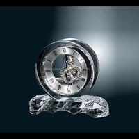 Optical Crystal Mechanical Round Table Clock