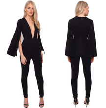 deep v neck sexy ladies onepiece black jumpsuit women bodycon tight jumpsuit