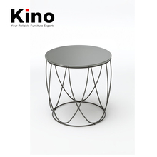 Solid Round metal frame glass top garden coffee table