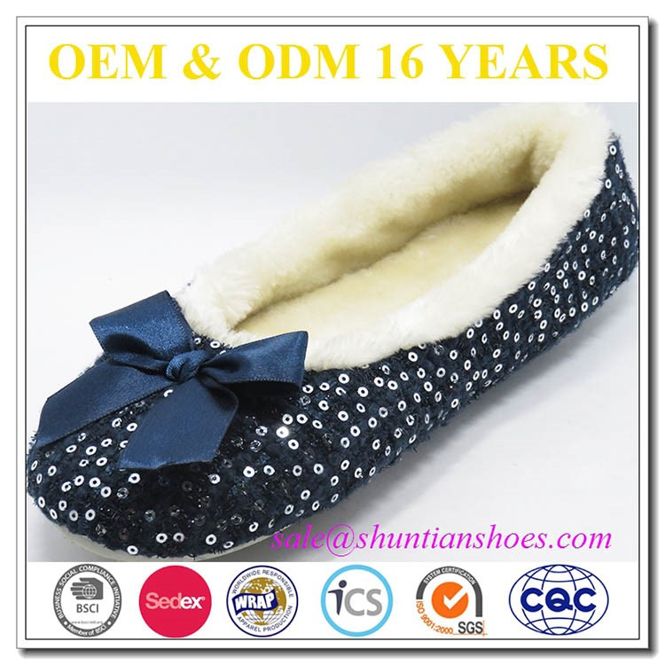 Big satin bow sequined wooling lining lady women's winter shoes/indoor slipper