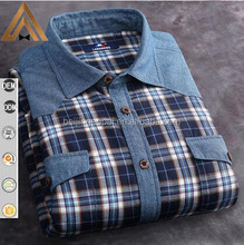 Fancy cotton checked design two pocket long sleeve mens shirt