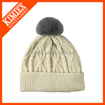 Custom Brand Quality Knitting Women's Winter Hats With Removable Fur Pompom