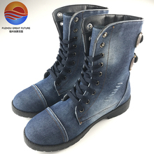 New Arrival the Latest Design High Top Jeans Fabric Ladies Casual Shoes