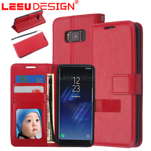 Crazy horse leather case with card slot with stand genuine leather tpu flip phone wallet for samsun g galaxy s8