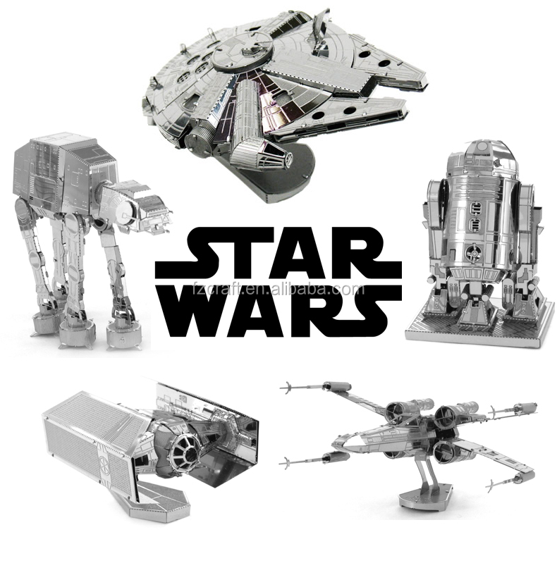 Mini Qute 3D Metal Star Puzzle War AT-AT Walker R2D2 TIE Fighter Millennium Falcon 10179 Destroyer X Wing robot educational toy