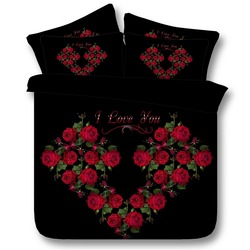 Romantic Black with Red Rose I Love You HD digital print 3d Bedding Set