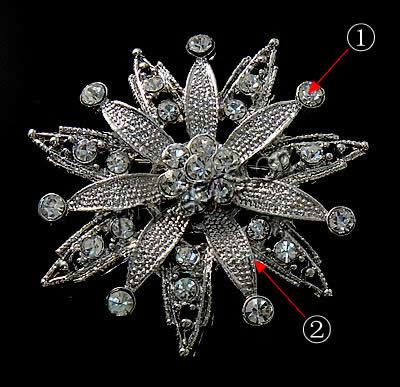 2015 Gets.com zinc <strong>alloy</strong> flower plated vintage rhinestone brooch